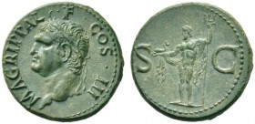 The Roman Empire   In the name of Agrippa  As after 37 AD, Æ 12.49 g. M AGRIPPA L – F COS III Head l., wearing rostral crown. Rev. S – C Neptune, cloa...