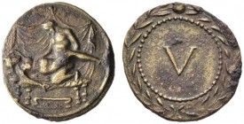The Roman Empire   Time of Tiberius  Spintria first century AD, Æ 4.95 g. Erotic scene. Rev. V within wreath. Buttrey NC 1973, A3 / V. Simonetta-Riva ...