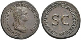 The Roman Empire   In the name of Agrippina Senior, mother of Gaius  Sestertius 42-43, Æ 32.61 g. AGRIPPINA M F GERMANICI CAESARIS Draped bust r., hai...