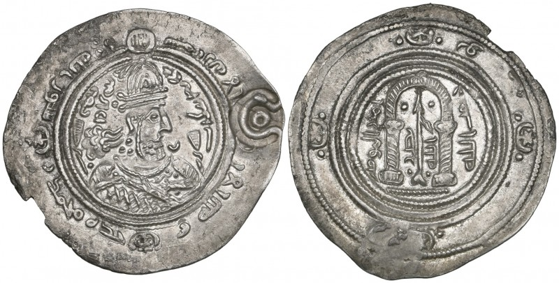 ARAB-SASANIAN, TEMP. 'ABD AL-MALIK B. MARWAN (65-86h). Drachm, without mint or d...