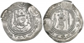 ARAB-HEPHTHALITE, YAZID B. AL-MUHALLAB. Drachm, ANBYR (Anbir) 84h. Obverse: Sasanian bust right, wearing helmet with 'weather-vane' crest; To right of...