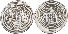 ARAB-SASANIAN, YAZDIGERD III TYPE. Drachm, NAR (Narmashir), YE 20 (=31h). Obverse In first quadrant of margin: Arabic jayyid; in fourth quadrant: Pahl...