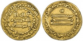 ABBASID, TEMP. AL-MA'MUN (194-218h). Dinar, Marw 215h. Obverse: Reform type, with double obverse margins. Weight: 4.19g. Reference: Bernardi 116Ph, ci...