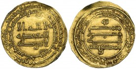 ABBASID, AL-MUKTAFI (289-295h). Dinar, Harran 290h. Weight: 2.88g . Reference: Bernardi 226Hj. Small bend in edge at 1 o'clock on obverse, otherwise g...