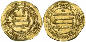 ABBASID, AL-MUKTAFI (289-295h). Dinar, Harran 293h. Weight: 4.22g . References: Bernardi 226Hj; Qatar 1299. Obverse die flaw visible at 9 o'clock, alm...