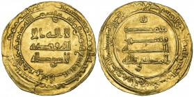 ABBASID, AL-MUKTAFI (289-295h). Dinar, Halab 289h. Weight: 4.47g . Reference: Bernardi 226Gb, citing a single example of this mint and date. Small fla...