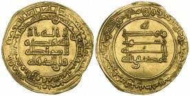 ABBASID, AL-MUKTAFI (289-295h). Dinar, al-Rafiqa 291h. Obverse: In field: citing Wali al-dawla. Weight: 3.17g . References: Bernardi 228Hn RRR, citing...