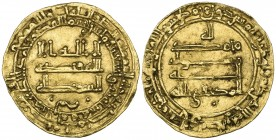 ABBASID, AL-MUKTAFI (289-295h). Dinar, al-Rafiqa 293h. Obverse: In field: two pellets below. Reverse: In field: single pellet below. Weight: 2.73g . R...