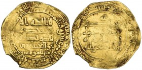 ABBASID, AL-MUQTADIR (295-320h). Dinar, al-Rafiqa 318h. Weight: 3.55g. Reference: cf Bernardi 242Hn (date not listed). Small edge chip, about fine and...