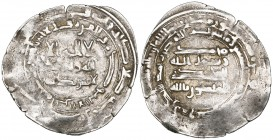 FATIMID PARTISAN IN THE YEMEN, MANSUR AL-YAMAN (IBN HAWSHAB, c.268-293h). Dirham, 'Adan al-Mahdi (?) 290h. Obverse: In margin: unread (outer); Qur'an ...