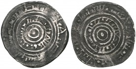 FATIMID, AL-'AZIZ (365-386h). Half-dirham, Tabariya [3]82h. Weight: 1.57g. Reference: Nicol 626. Flan crack, fine and very rare