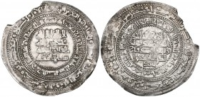 BUWAYHID, ABU KALIJAR (415-440h). Donative dirham, al-Basra 433h. Obverse: In margins: Qur'an xxx, 3-4 (outer); mint and date (inner); In field: la il...