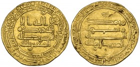 ABBASID, AL-MUTAWAKKIL (232-247h)  Dinar, San'a 242h.  Obverse: In field: citing the caliphal heir al-Mu'tazz billah.  Weight: 4.14g.  Reference: Bern...