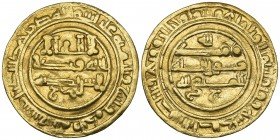 ‡ ABBASID, AL-MUTTAQI (329-333h).  Dinar, Baysh 331h. Obverse: In field: floral decoration on tail of ra of sharik, and letter jim below.  Reverse: In...