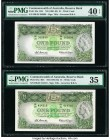 Australia Commonwealth Bank of Australia 1 Pound ND (1961-65) Pick 34a R34 Two Examples PMG Extremely Fine 40 EPQ; Choice Very Fine 35. One example ha...