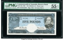 Australia Commonwealth of Australia Reserve Bank 5 Pounds ND (1960-65) Pick 35a R50 PMG About Uncirculated 55 EPQ.   HID09801242017  © 2020 Heritage A...