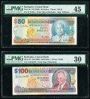 Barbados Central Bank 50; 100 Dollars ND (2000) Pick 64; 65 Two Examples PMG Choice Extremely Fine 45; Very Fine 30.   HID09801242017  © 2020 Heritage...