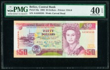 Belize Central Bank 50 Dollars 1.5.1990 Pick 56a PMG Extremely Fine 40 EPQ.   HID09801242017  © 2020 Heritage Auctions | All Rights Reserved