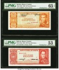 Bolivia Banco Central 50; 100 Pesos Bolivianos 13.7.1962 Pick 162a; 163a Pair of Printing Errors PMG Gem Uncirculated 65 EPQ; About Uncirculated 53. A...
