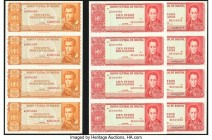 Bolivia Banco Central 50; 100 Pesos Bolivianos 1962 Pick 162r; 163r Uncut Remainder Sheet of Four Notes Crisp Uncirculated. Bolivia Banco Central 100 ...
