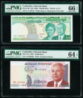 Cambodia National Bank of Cambodia 100,000; 50,000 Riels ND (1995); 2001 Pick 50a; 57a Two Examples PMG Gem Uncirculated 66 EPQ; Choice Uncirculated 6...