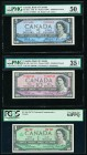 Canada Bank of Canada $5; 10; 1 1954 (2); 1967 BC-39a-i; BC-40b; BC-45a Three Examples PMG About Uncirculated 50; Choice Very Fine 35 EPQ; PCGS Very C...