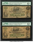 Canada Moncton, NB- Westmorland Bank of New Brunswick $2 1.8.1861 Ch.# 800-12-04 Two Consecutive Examples PMG Fine 12.   HID09801242017  © 2020 Herita...