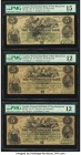 Canada Moncton, NB- Westmorland Bank $5 1.8.1861 Ch.# 800-12-06 Three Examples PMG Choice Fine 15; Fine 12 (2). Ink; Ink stamps.  HID09801242017  © 20...