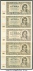 Czechoslovakia Narodni Banka Ceskoslovenska 1000 Korun 1945 Pick 74s Group of 5 Specimen Choice Uncirculated. All examples are cancelled perforated wi...
