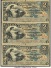 Dominican Republic Banco de la Compania de Credito de Puerto Plata 2 Pesos ND (1880-89) Pick S104r Uncut Sheet of 3 Remainders Very Fine. Some spits a...