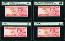 East Caribbean States Central Bank 1 Dollar ND (1985-88) (3); ND (1988) Pick 17a; 17k; 17m; 17u Four Examples PMG Gem Uncirculated 65 EPQ (2); Choice ...