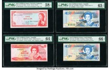 East Caribbean States Currency Authority 1 Dollar ND (1965) Pick 13g PMG Choice About Unc 58 EPQ; Central Bank 1; 10 (2) Dollar ND (1988-89); ND (2003...