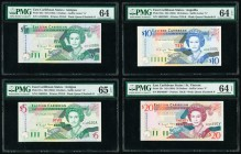 East Caribbean States Central Bank 5 (2); 10; 20 Dollars ND (1993); ND (1994) (3) Pick 26a; 31a; 32u; 33v Four Examples PMG Choice Uncirculated 64; Ch...