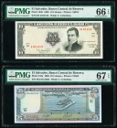 El Salvador Banco Central de Reserva de El Salvador 10; 25 Colones 17.3.1988; 9.2.1996 Pick 135b; 142a Two Examples PMG Gem Uncirculated 66 EPQ; Super...