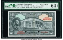 Ethiopia State Bank of Ethiopia 50 Dollars ND (1945) Pick 15s2 Specimen PMG Choice Uncirculated 64 EPQ. Two POCs.  HID09801242017  © 2020 Heritage Auc...