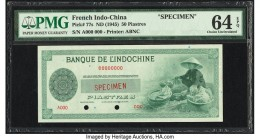 French Indochina Banque de l'Indo-Chine 50 Piastres ND (1945) Pick 77s Specimen PMG Choice Uncirculated 64 EPQ. Cancelled with two punch holes.   HID0...