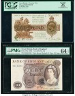 Great Britain Bank of England 1; 10 Pounds ND (1922-23); ND (1970-75) Pick 359a; 376c Two Examples PMG Apparent Very Fine 25; PMG Choice Uncirculated ...