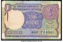 India Government of India 1 Rupee 1993 Pick 78Ai Jhun6.1.10.6C Pack of 100 Examples About Uncirculated or Better. A pack of 100. Staple still present....