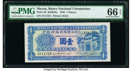Macau Banco Nacional Ultramarino 1 Pataca 16.11.1945 Pick 28 KNB34a PMG Gem Uncirculated 66 EPQ.   HID09801242017  © 2020 Heritage Auctions | All Righ...