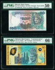 Malaysia Bank Negara 50 Ringgit 1998; ND (1997) Pick 45; 31D Two Examples PMG Gem Uncirculated 66 EPQ; About Uncirculated 50.   HID09801242017  © 2020...