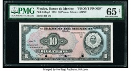 Mexico Banco de Mexico 10 Pesos 3.12.1951 Pick 53ap1 Front Proof PMG Gem Uncirculated 65 EPQ. Three POCs.  HID09801242017  © 2020 Heritage Auctions | ...