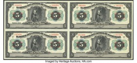 Mexico Banco del Estado de Chihuahua 5 Pesos 1913 Pick S132b s M95b Uncut Sheet of Four Remainders Choice Uncirculated.   HID09801242017  © 2020 Herit...