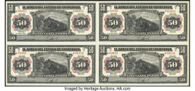 Mexico Banco del Estado de Chihuahua 50 Pesos 1913 Pick S135b Uncut Sheet of Four Remainders Choice Uncirculated.   HID09801242017  © 2020 Heritage Au...