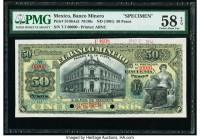 Mexico Banco Minero 50 Pesos ND (1901) Pick S166As2 M136s Specimen PMG Choice About Unc 58 EPQ. Note unaffected by issues in selvage; two POCs.  HID09...