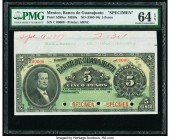 Mexico Banco de Guanajuato 5 Pesos ND (1903-10) Pick S289cs M350s Specimen PMG Choice Uncirculated 64 EPQ. Three POCs.  HID09801242017  © 2020 Heritag...