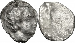 Greek Italy. Etruria, Populonia. AR Diobol (?), 3rd century BC. D/ Young male head right. R/ Blank. Cf. Vecchi EC I, 125 (only one specimen recorded);...