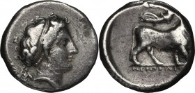 Greek Italy. Central and Southern Campania, Neapolis. AR Didrachm, 395-385 BC. D/ Head of nymph right. R/ Man-headed bull right; above, Nike flying. H...