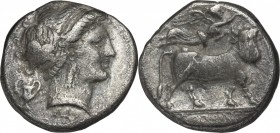 Greek Italy. Central and Southern Campania, Neapolis. AR Didrachm, circa 320-300 BC. D/ Head of nymph right, wearing thick band in hair; kantharos to ...