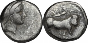 Greek Italy. Central and Southern Campania, Neapolis. AR Didrachm, circa 320-300 BC. D/ Head of nymph right, wearing thick band in hair. R/ Man-headed...