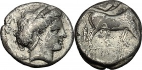 Greek Italy. Central and Southern Campania, Neapolis. AR Didrachm, c. 300 BC. D/ Head of nymph right, surrounded by four dolphins. R/ Man-headed bull ...